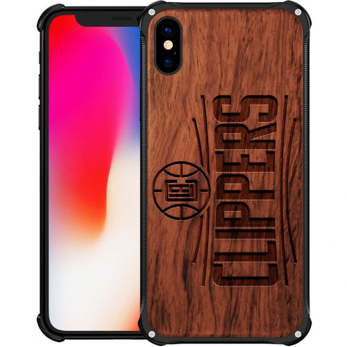 Los angeles Clippers iPhone XS Case - Hybrid Metal and Wood Cover