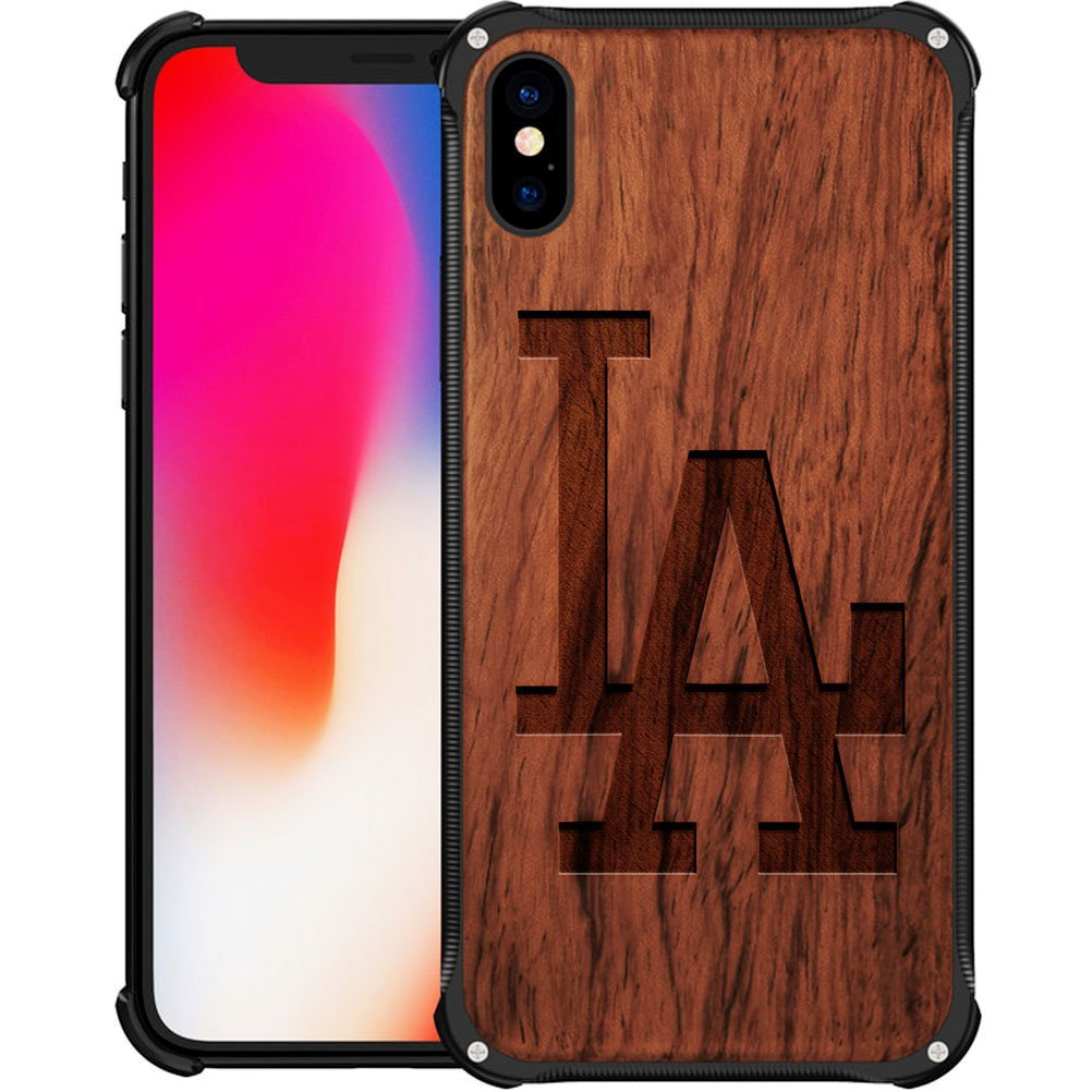 Los Angeles Dodgers iPhone X Case - Hybrid Metal and Wood Cover Classic