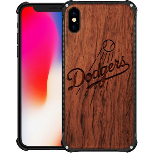 Los Angeles Dodgers iPhone X Case - Hybrid Metal and Wood Cover
