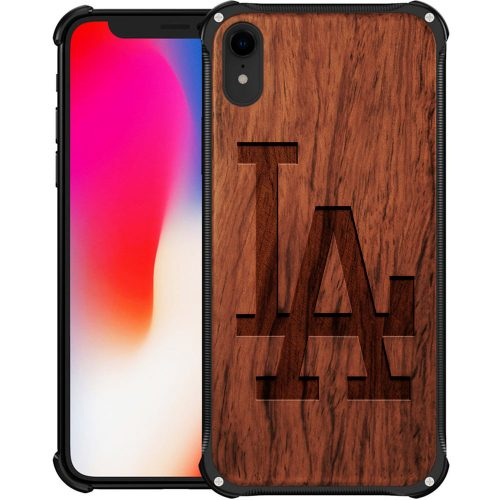 Los Angeles Dodgers iPhone XR Case - Hybrid Metal and Wood Cover Classic