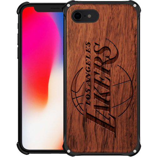 Los Angeles Lakers iPhone 8 Case - Hybrid Metal and Wood Cover