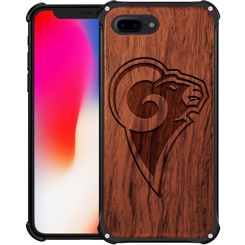 Los Angeles Rams iPhone 7 Plus Case - Hybrid Metal and Wood Cover