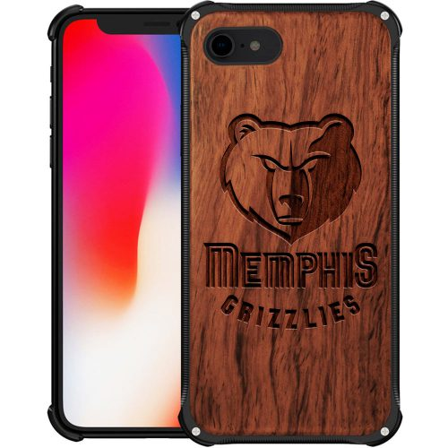 Memphis Grizzlies iPhone 8 Case - Hybrid Metal and Wood Cover