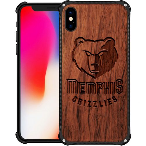 Memphis Grizzlies iPhone XS Max Case - Hybrid Metal and Wood Cover