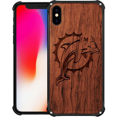 Miami Dolphins iPhone XS Case - Hybrid Metal and Wood Cover