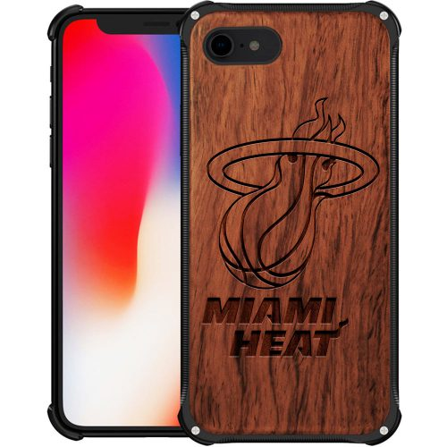 Miami Heat iPhone 8 Case - Hybrid Metal and Wood Cover