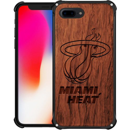 Miami Heat iPhone 8 Plus Case - Hybrid Metal and Wood Cover