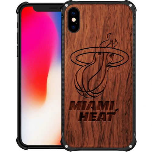 Miami Heat iPhone XS Case - Hybrid Metal and Wood Cover
