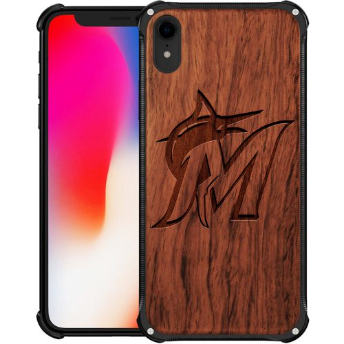 Miami Marlins iPhone XR Case - Hybrid Metal and Wood Cover