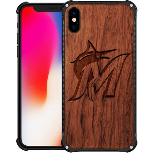 Miami Marlins iPhone XS Max Case - Hybrid Metal and Wood Cover