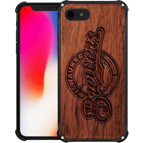 Milwaukee Brewers iPhone 8 Case - Hybrid Metal and Wood Cover