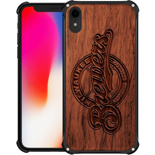 Milwaukee Brewers iPhone XR Case - Hybrid Metal and Wood Cover