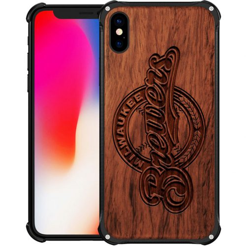 Milwaukee Brewers iPhone XS Max Case - Hybrid Metal and Wood Cover
