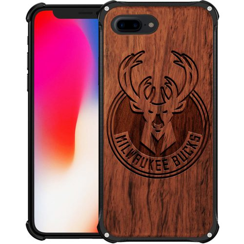Milwaukee Bucks iPhone 8 Plus Case - Hybrid Metal and Wood Cover