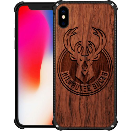Milwaukee Bucks iPhone XS Max Case - Hybrid Metal and Wood Cover