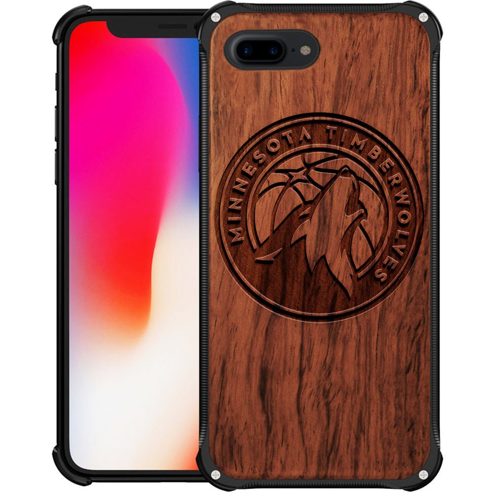Minnesota Timberwolves iPhone 7 Plus Case - Hybrid Metal and Wood Cover