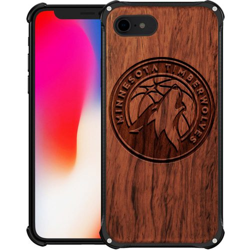 Minnesota Timberwolves iPhone 8 Case - Hybrid Metal and Wood Cover