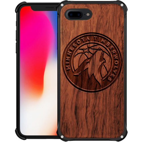 Minnesota Timberwolves iPhone 8 Plus Case - Hybrid Metal and Wood Cover