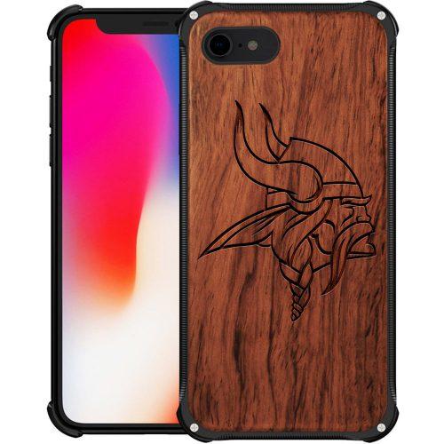 Minnesota Vikings iPhone 8 Case - Hybrid Metal and Wood Cover