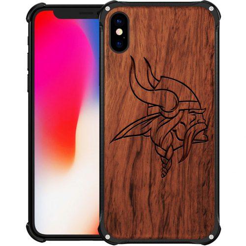 Minnesota Vikings iPhone X Case - Hybrid Metal and Wood Cover