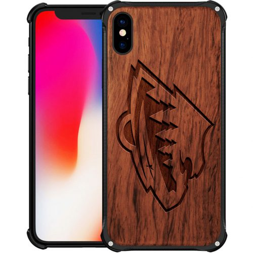 Minnesota Wild iPhone X Case - Hybrid Metal and Wood Cover