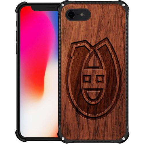 Montreal Canadiens iPhone 8 Case - Hybrid Metal and Wood Cover