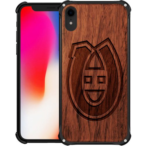 Montreal Canadiens iPhone XR Case - Hybrid Metal and Wood Cover
