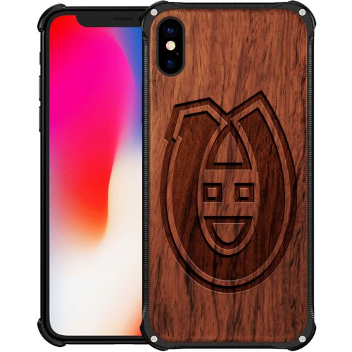 Montreal Canadiens iPhone XS Max Case - Hybrid Metal and Wood Cover