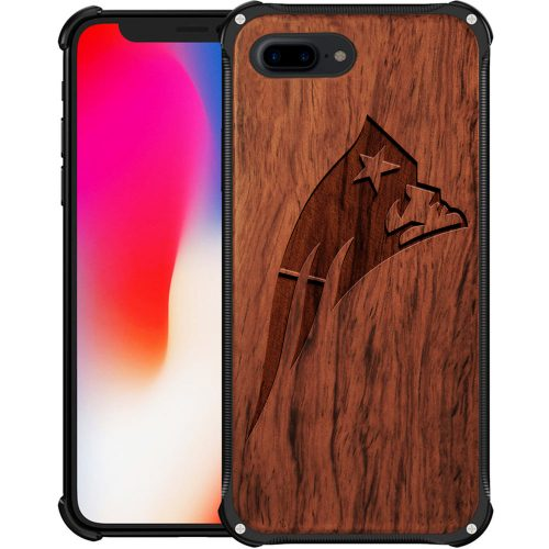 New England Patriots iPhone 8 Plus Case - Hybrid Metal and Wood Cover