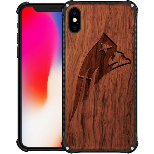 New England Patriots iPhone X Case - Hybrid Metal and Wood Cover