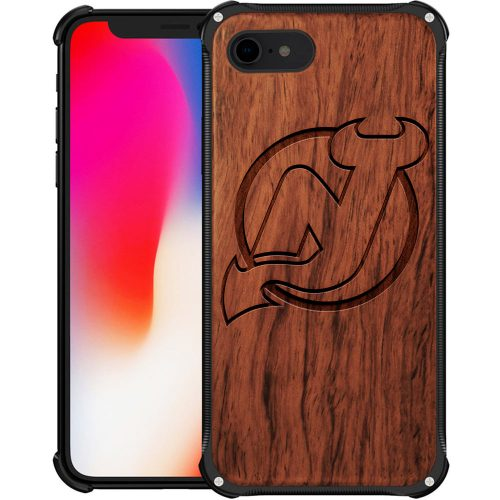 New Jersey Devils iPhone 8 Case - Hybrid Metal and Wood Cover