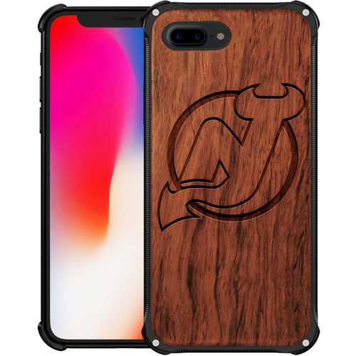 New Jersey Devils iPhone 8 Plus Case - Hybrid Metal and Wood Cover