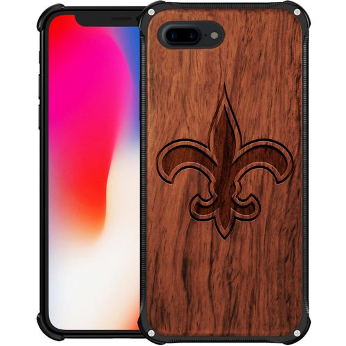 New Orleans Saints iPhone 8 Plus Case - Hybrid Metal and Wood Cover