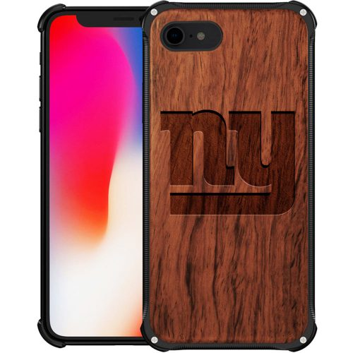 New York Giants iPhone 7 Case - Hybrid Metal and Wood Cover