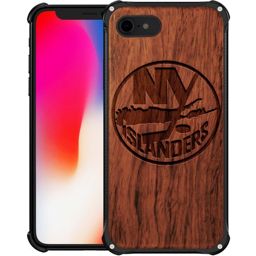 New York Islanders iPhone 8 Case - Hybrid Metal and Wood Cover
