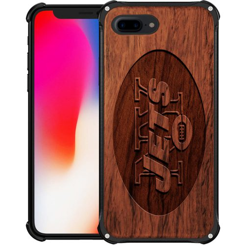 New York Jets iPhone 8 Plus Case - Hybrid Metal and Wood Cover
