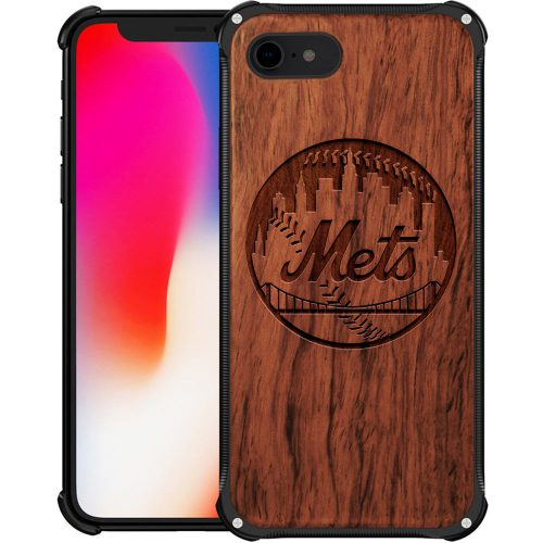 New York Mets iPhone 8 Case - Hybrid Metal and Wood Cover