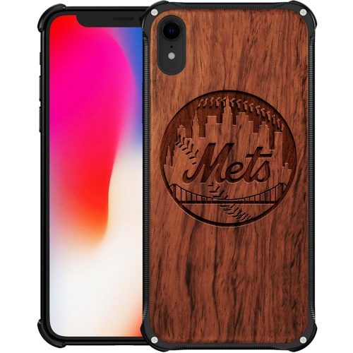 New York Mets iPhone XR Case - Hybrid Metal and Wood Cover