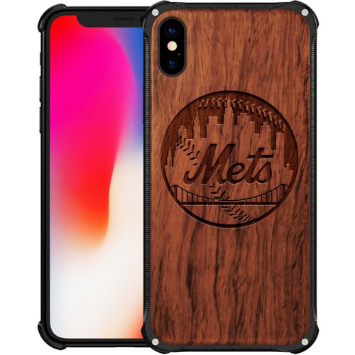 New York Mets iPhone XS Max Case - Hybrid Metal and Wood Cover