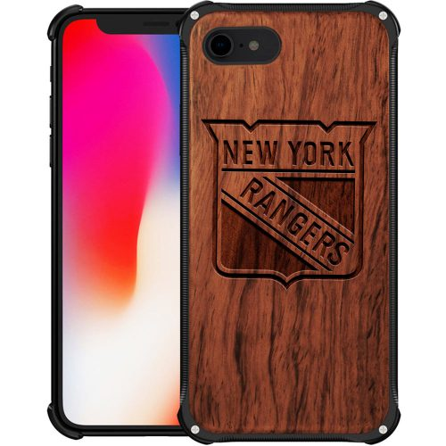 New York Rangers iPhone 8 Case - Hybrid Metal and Wood Cover