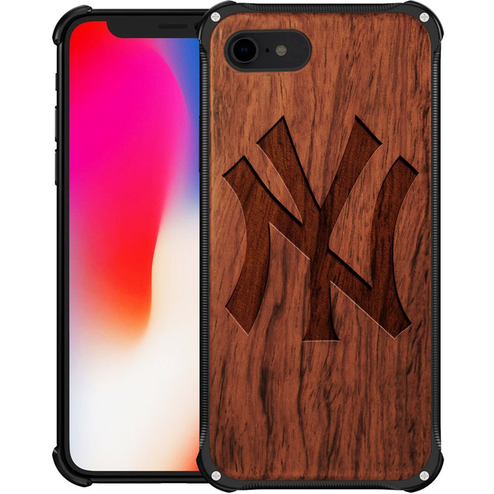 New York Yankees iPhone 8 Case - Hybrid Metal and Wood Cover Classic