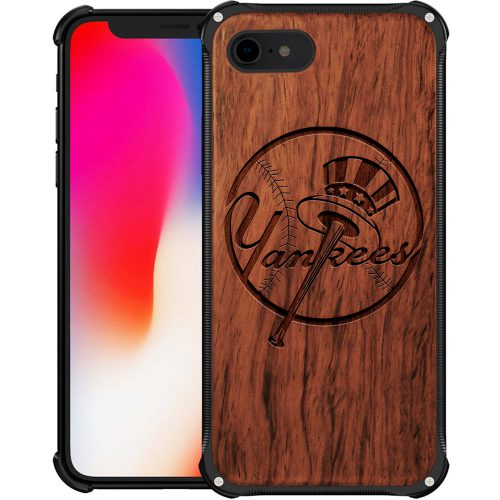 New York Yankees iPhone 8 Case - Hybrid Metal and Wood Cover
