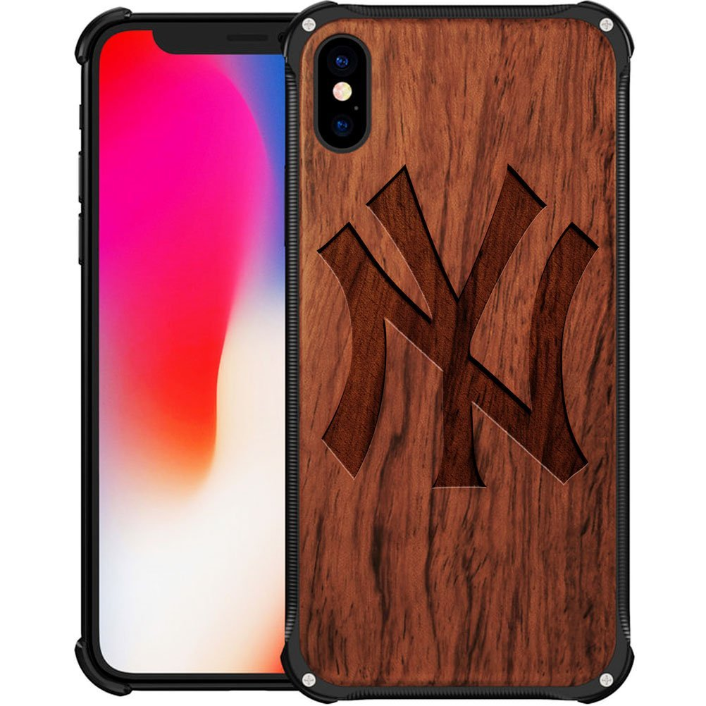 New York Yankees iPhone X Case - Hybrid Metal and Wood Cover Classic