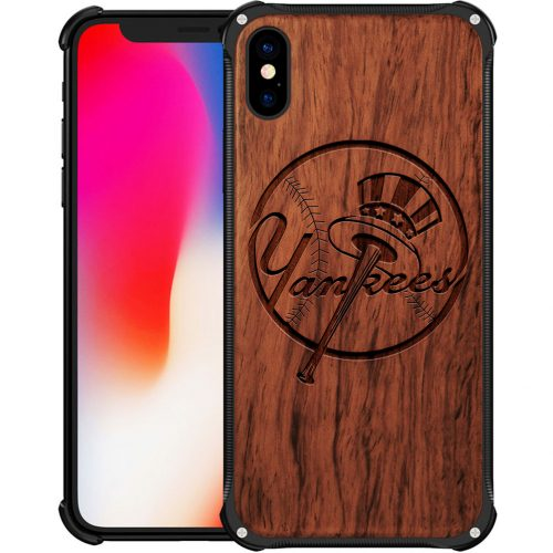 New York Yankees iPhone X Case - Hybrid Metal and Wood Cover