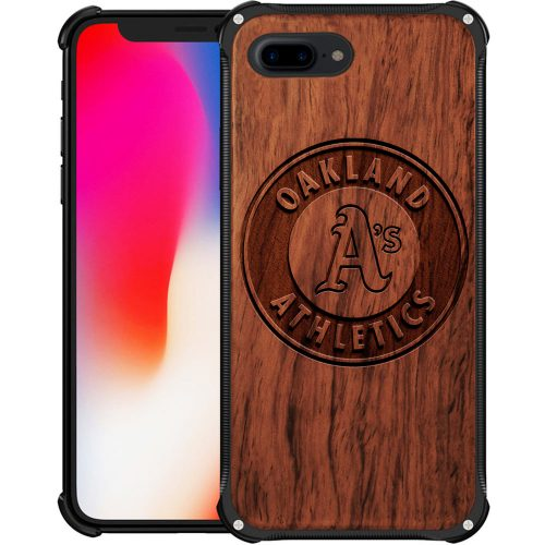 Oakland Athletics iPhone 8 Plus Case - Hybrid Metal and Wood Cover