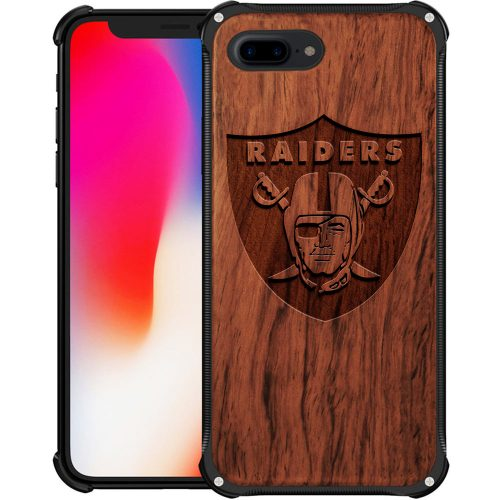 Oakland Raiders iPhone 8 Plus Case - Hybrid Metal and Wood Cover