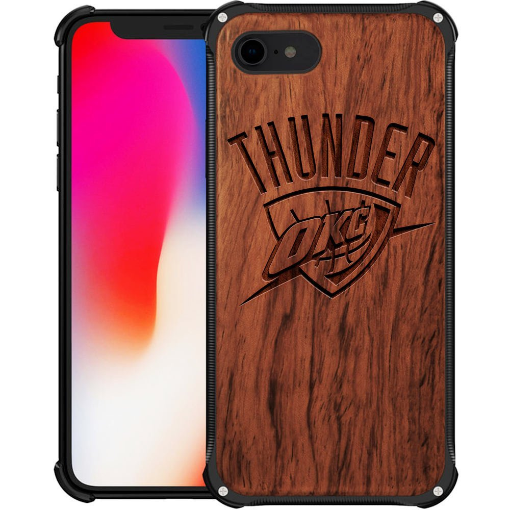 OKC Thunder iPhone 7 Case - Hybrid Metal and Wood Cover