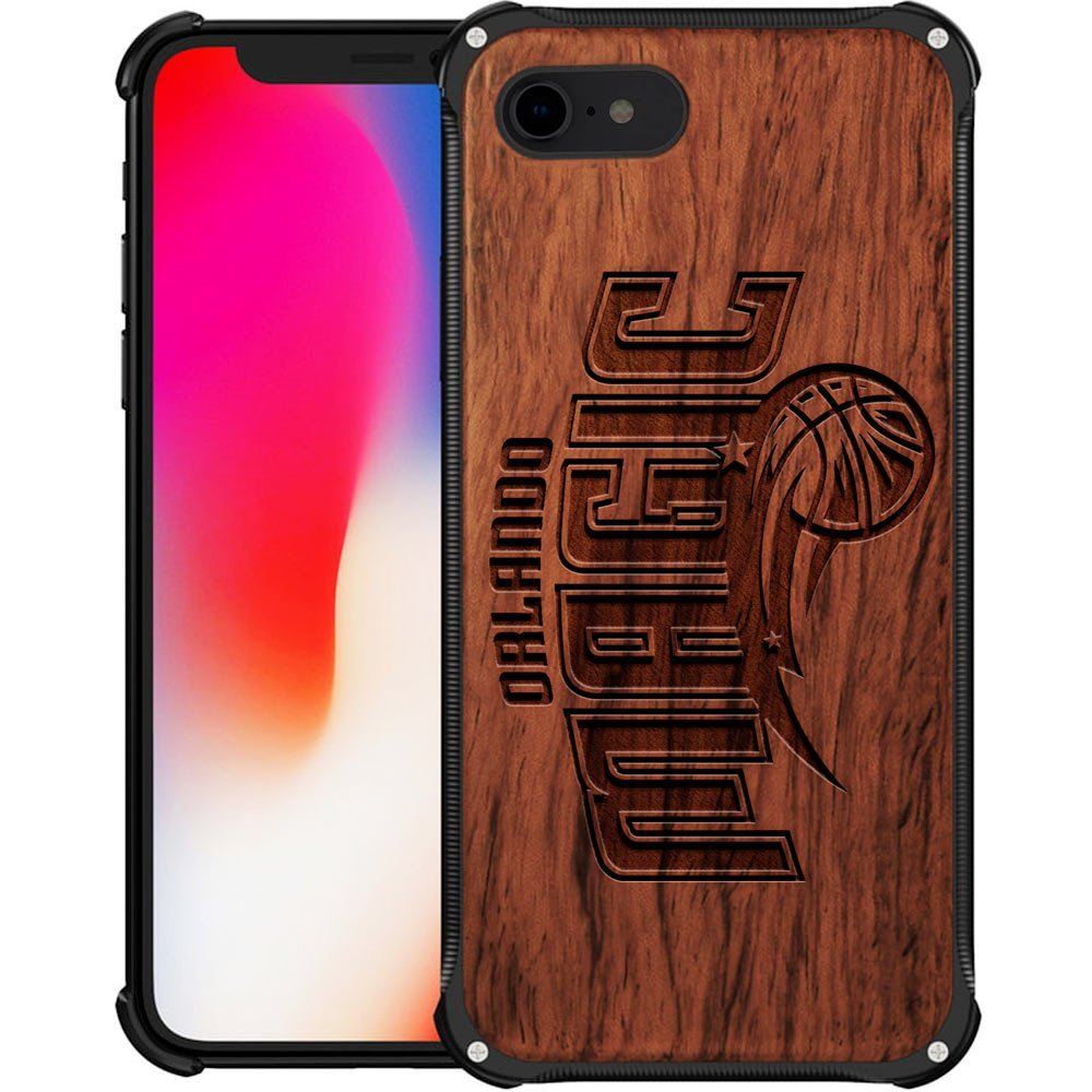 Orlando Magic iPhone 7 Case - Hybrid Metal and Wood Cover