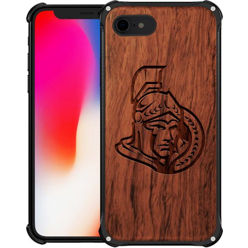 Ottawa Senators iPhone 7 Case - Hybrid Metal and Wood Cover