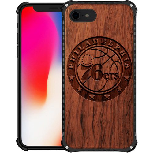 Philadelphia 76Ers iPhone 7 Case - Hybrid Metal and Wood Cover